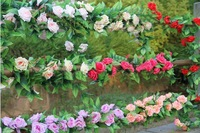 10pcs/Lot Artificial Silk Rose Flower Vine Lifelike Flower Bush Garland ,Wedding Home Party Decor, 6 Color ,Wholesale