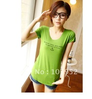 2012 letter thin casual slim modal cotton female short-sleeve T-shirt o-neck basic shirt