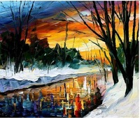 The Winter Lake   !! Hot Sale ,Handmade Wall Art Huge Knife  Landscape Oil  Painting ,jyjrfj082