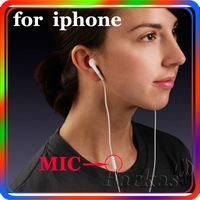 Free Shipping New 3.5mm Stereo earphone with MIC For iPhone /iPod/MP3/MP4 Headset Earphone(White) 20pcs/lot