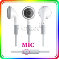 DHL OR FedEx Free Shipping 3.5mm Stereo Earphone for iPhone Headset Headphone with Mic for iPhone iPod iPad(White) 500pcs/lot