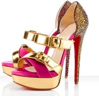 Hotsale gold iron buckle muti-color platform sandals high heel shoes