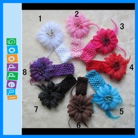 Детский аксессуар для волос Hot sale Baby accessories! 6set Crochet Headbands + Rose Daisy Flowers, Baby Hair bows, Head bows, Girls Head Accessories