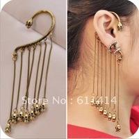EC003,20pcs/lot retro punk skull clip earrings,hotsale fashion long chain earrings,free shipping