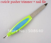 2 in 1 Nail Art Tool Set Cuticle Pusher + File For Finger & Toe Care Manicure Pedicure 25pcs/set Steel Material Product 314