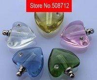 Free shipping!!!mixed color flat Peach Hearts  Crystal Perfume & Aroma Oil Vials, Pendants