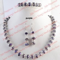Free Shipping!Wholesale 3 Sets/Lot Handmade Purple Crystal Glass Beads Jewelry Set Necklace,Earring and Bracelet 245
