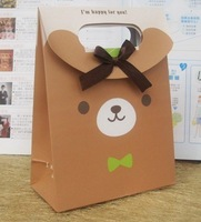 50pcs/Lot 155-3 Size S cute bear printed gift bag with bow