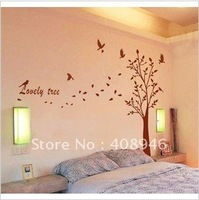 120188 160*225cm   tree and birds   freeshipping  Wall sticker  / fridge magnet  / free combination   removable wall stickers