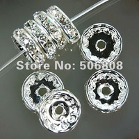12MM Crystal Rhinestone Rondelle Spacer Beads, Silver Plated With Clear Spacers, DIY Basketball Wives Beads100PCS/LOT