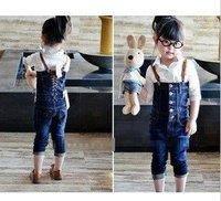 free shipping baby fashion 2pcs set  ,shirt+jeans , autumn clothes/long sleeve shirt /5sets /lot