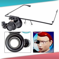 20X Glasses Type Magnifier Magnifying Lens Eye Gauge with LED Light for Handicraft Watch Repair