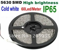 5630 SMD 5M 16FT 300LED waterproof IP65 Cold white super bright LED Flexible Light Strip 60LED/Meter Brighter than 5050/3528SMD