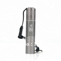Gray Mini LED Flashlight Lamp With Strap Outdoor Sprots Pocket Flash Torch 3W Waterproof Aluminum Easy To Carry Made China