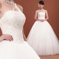 Flower pure bride wedding dress with bandage 637 Free shipping