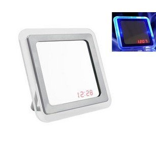 free shipping by CPAM LED alarm clock mirror creative clock sound control clock touch control clock 200g/pc 3*AAA (no include)