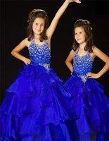 Christmas Blue Halter Flower Girl Dress Girl Skirt Princess Skirt Party Skirt Pageant Skirt Custom SZ 2 4 6 8 10 12 14 JL708037
