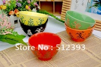 Exported Japan Jingdezhen Japanese Tableware phoenix tail Flowers Colorful Bowl Ceramic Bowl 4 colors to choose