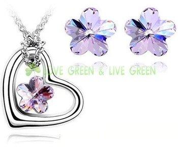 Free Shipping Gift Bags Hotselling Wholesales Rhine Zircon 18KGP Austrian Crystal Heart Flower Pendant fashion Jewelry Set 40363