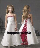 Christmas White Red Flower Girl Dress Girl Skirt Princess Skirt Party Skirt Pageant Skirt Custom SZ 2 4 6 8 10 12 14 JL708009