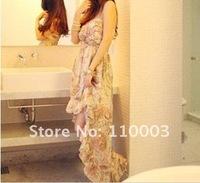 Bohemian chic asymmetrical skirt flowing dress A082