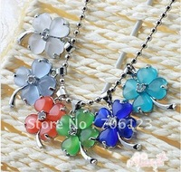Wholesale Cat eye stone four-leaved clover pendant Jewelry pendants mix color 60pcs mix order free shipping