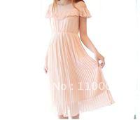 Pearl button pleated skirt dressA131