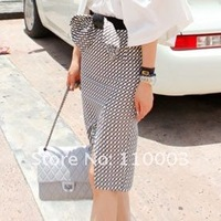 grid before the split package hip waist skirt dress with bow belt A158