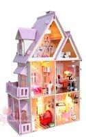 3D  DIY LED light wooden my little house (Pink) dollhouse Miniatures&furniture Kit