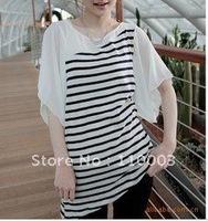 sweet, black and white striped chiffon T-shirt A166