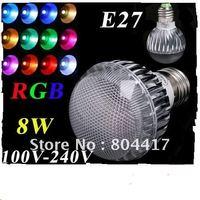 Free Shipping New Sale Fashion 1Pcs AC 100-240V RGB E27 8W LED Light Lamp Bulb +Remote Control led lighting+Wholesale