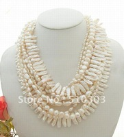 """Stunning! 40"""" 6Strds White Pearl Necklace"""