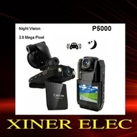 3.0 Mega pixel Car Camera with140 Degree Wide Angle and 2-LED Flash Light 2.0&amp;quot; LCD Car DVR Car Video Recorder P5000free shipping