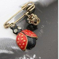 Min.order is $5 (mix order)Free Shipping,Vintage Retor Rhinestone Colorful Glazed Ladybug Cute Crown Pin Brooch(B020)(China (Mainland))