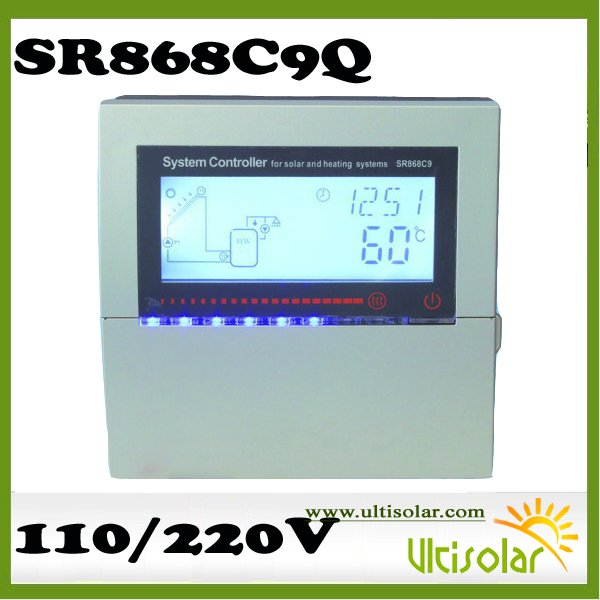 SR868C9Q Ultisolar New Energy Controller, LED indicating light of Temperature 5 sensors and 4 relays Max Pump Interva RPM Speed(China (Mainland))