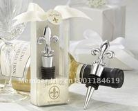 Fleur de Lis Elegant Chrome Bottle Stopper, Fahion Wedding Gift