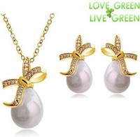 Free Shipping Gift Bag Wholsales Crystal Rhine stone bowknot fruitful Pearl water drop fashion Jewelry set necklace earring 4238