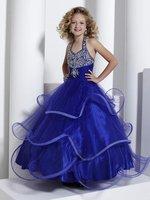 Christmas Blue Halter Flower Girl Dress Girl Skirt Princess Skirt Party Skirt Pageant Skirt Custom SZ 2 4 6 8 10 12 14 JL708058