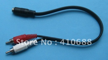 80 pcs 3.5mm Stereo Female mini jack to Dual RCA male adapter Cable 28cm(11inch)