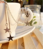 Newest Designer Ear Cuff Long Style Star Pendant Ear Clips 24pcs/lot Free Shipping