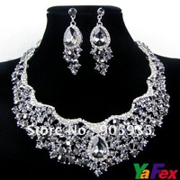Free Shipping Wedding Bridal Bridesmaid Teardrop Earring Necklace Jewelry Set  Crystal WA33-1#
