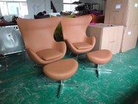 HOT designer Lounge (1 piece/ctn) Arne Jacobsen Full Brown Aniline Leather egg chair/ Swivel and Tilt