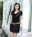 Free Shipping New Design Elegant Black Korean Style Cotton Fashion Ladies'  Dress   (FREE BELT!!!)