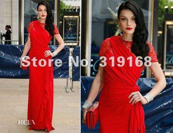 2012 New Fashion Jessica Stam In American Theatres Gala Straight Floor-Length Short Sleeve Satin Celebrity Dress IWD12062618