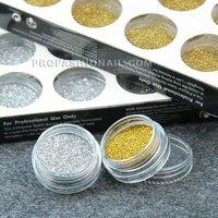 Free Shipping 168pots/set  gold & silver giltter dust Nail Acrylic Powder Dust Nail Art Tips Decoration NA627