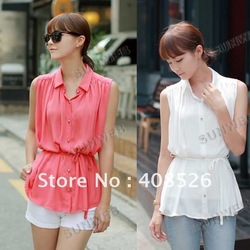 New Korean ladies blouse Chiffon sleeveless Shirt Top 2 Colors White, Watermelon red free shipping 5686(China (Mainland))
