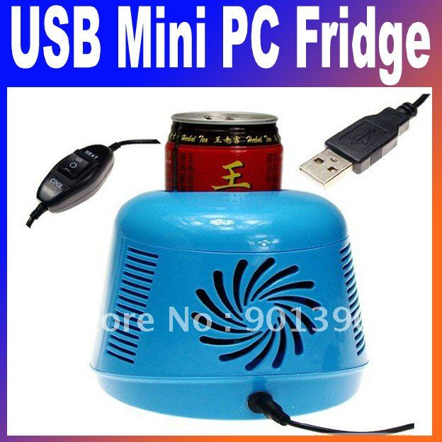 Mini USB gift USB Mini PC Fridge Drink Cans Cooler &amp; Warmer New office desktop Free Shipping(China (Mainland))
