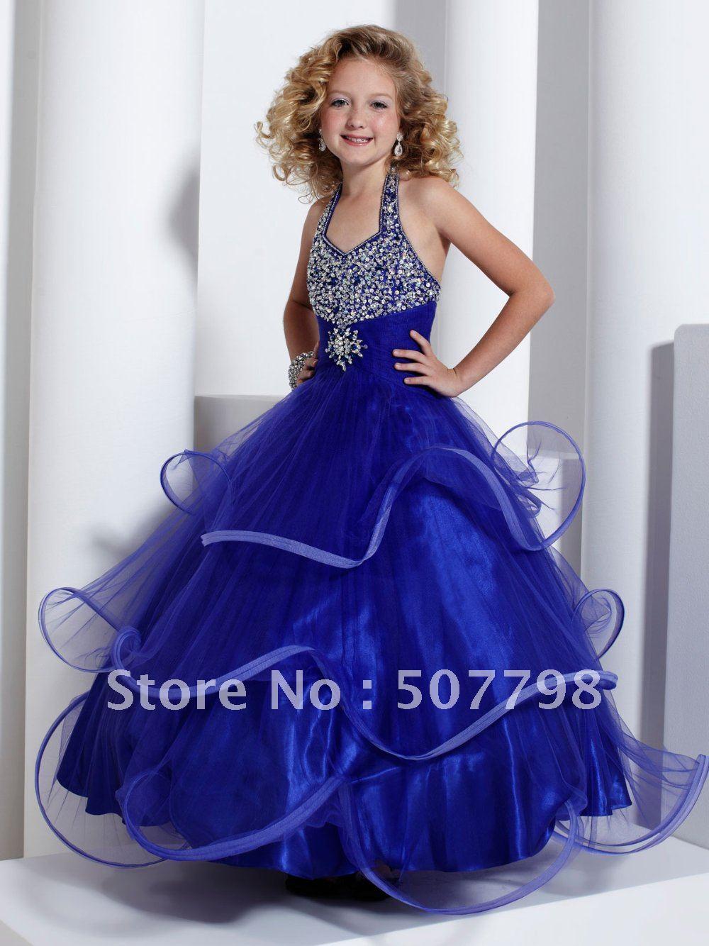 Aliexpress com Buy Tiffany Princess Girl Dress Blue halter