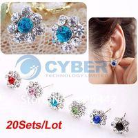 Wholesale 20Sets/Lot(6 Pairs/Set) Women's Girls Fashion Flower Earrings Ear Nail Fashion Jewelry Free Shipping 4067