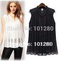 FREE SHIPPING 2014 fashion t-shirts elegant plain pleated sleeveless small stand collar chiffon shirts for women T036